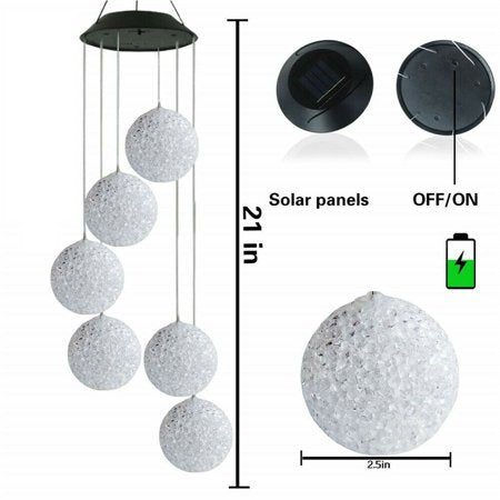 Solar Color Changing LED Ball  Home Wind Chimes