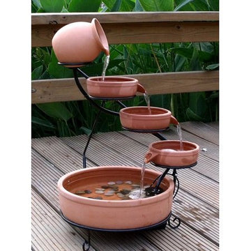 ASC Terra Cotta Cade Solar Water Fountain with Water Pump Kit and LED Light