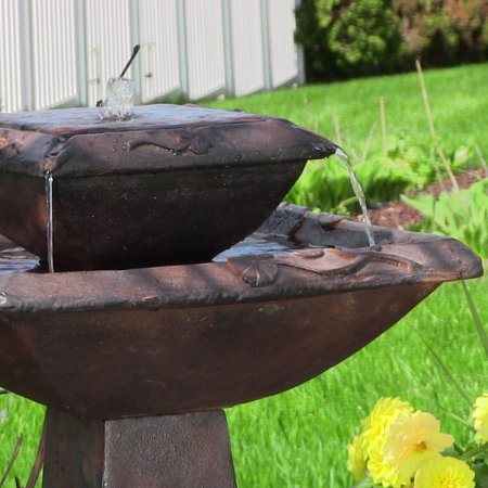 2-tier Lily Leaf Solar with Battery Fountain - Rust Finish - 31-inch