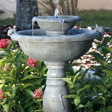 Smart Solar Country Garden 2-Tier Solar-On-Demand Outdoor Fountain