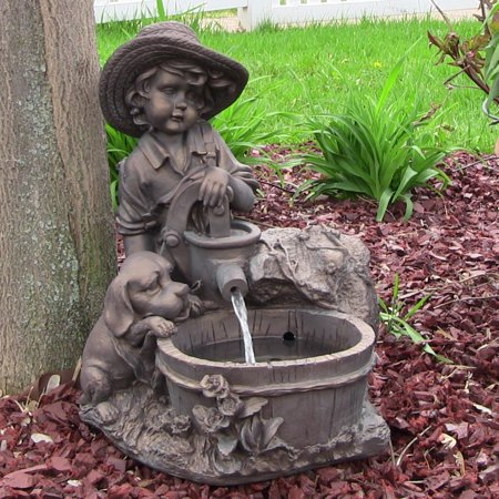 Boy with Dog Solar Outdoor Water Fountain w/ Battery 15
