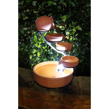 Terra Cotta Cade Solar Water Fountain with Water Pump Kit and LED Light
