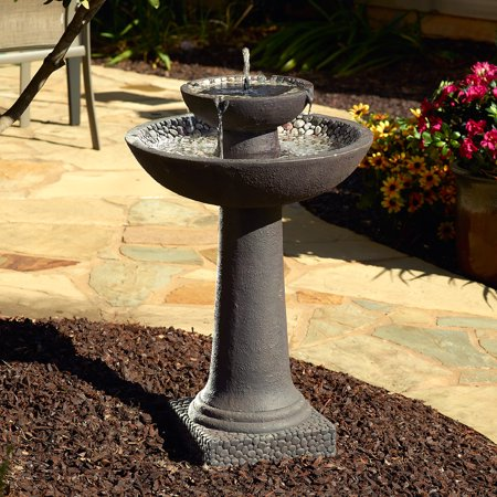 Solar-on-Demand 2-Tier Fountain - Brown