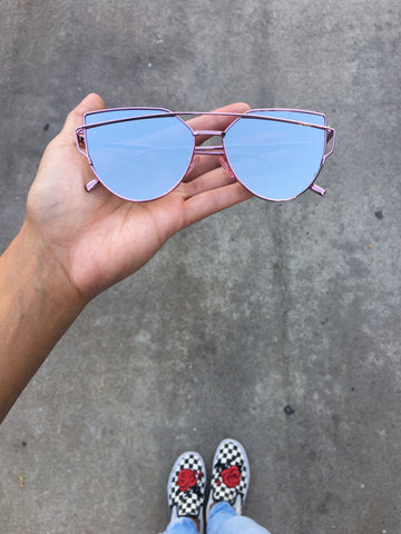 Mirrored Lens Giant Velvet Sunnies