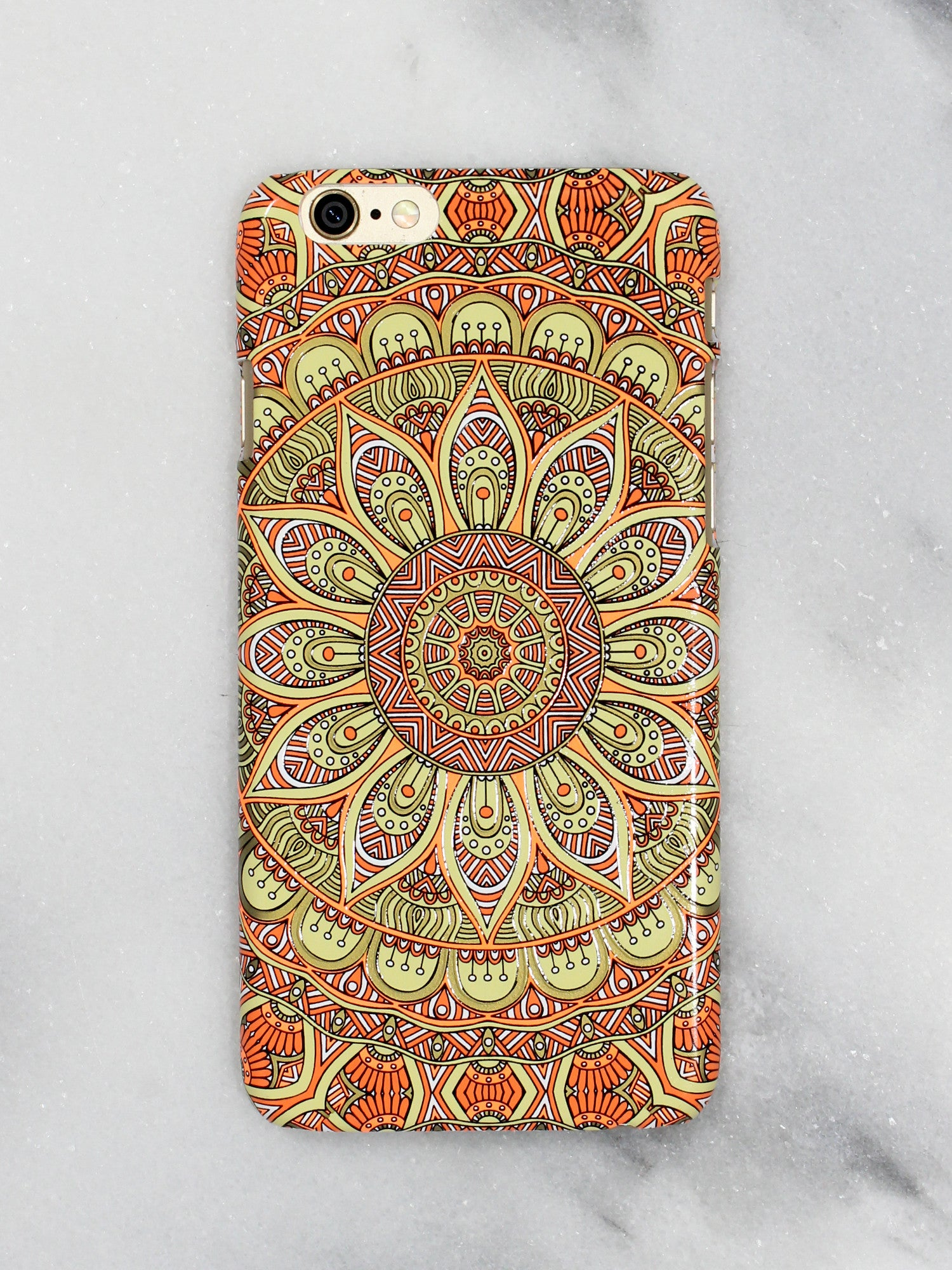 Orange Floral Print iPhone Case - Gold Soul