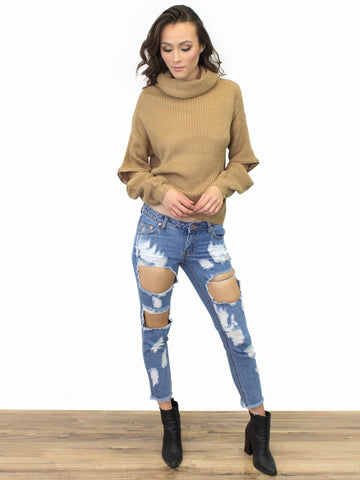 Distressed Denim Jeans - Gold Soul - 1