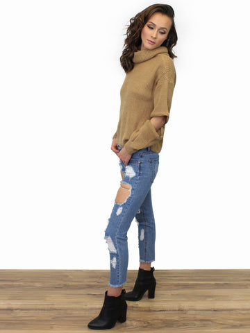 Distressed Denim Jeans - Gold Soul - 2