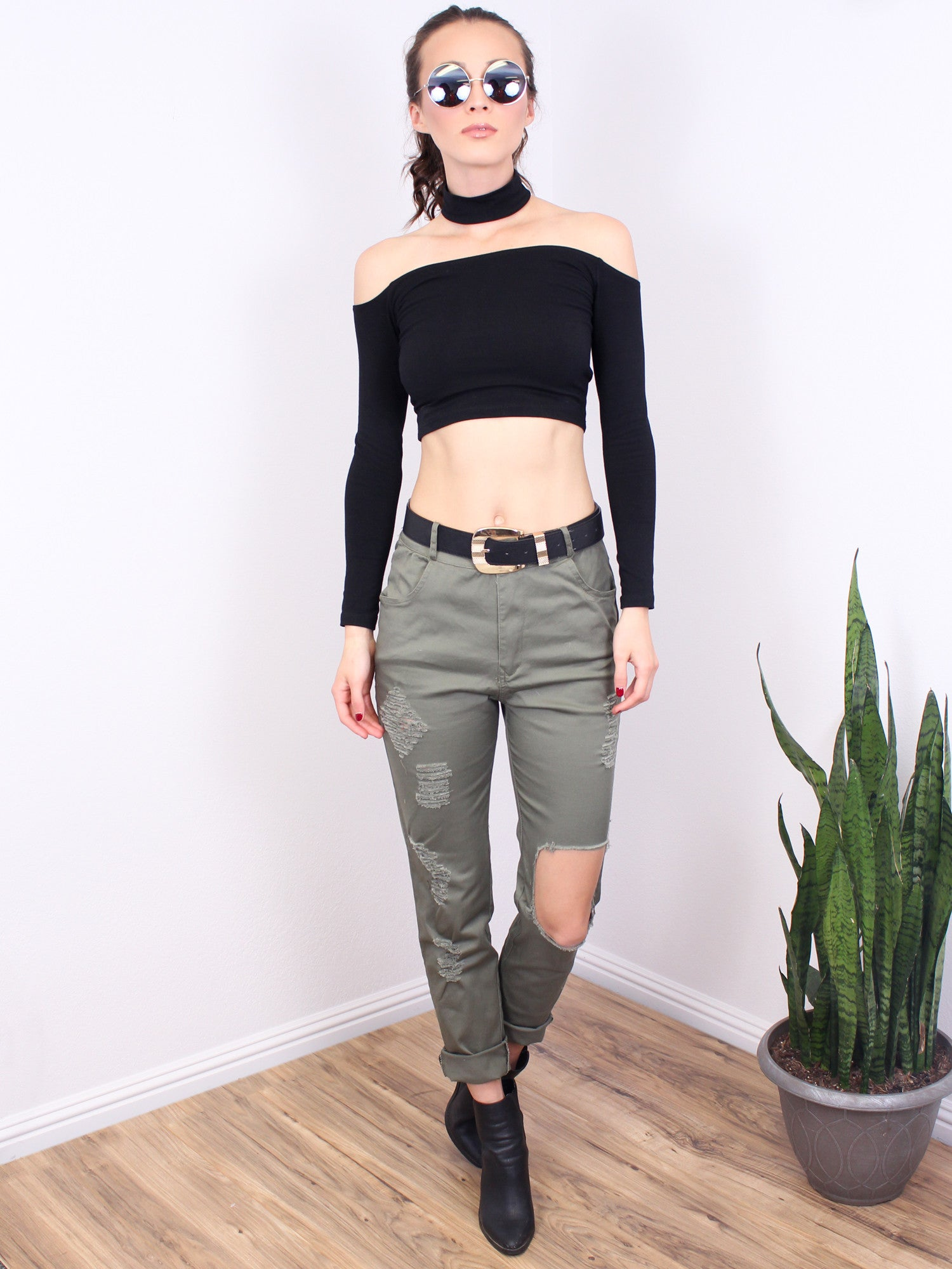 Distressed Olive Jeans - Gold Soul - 1