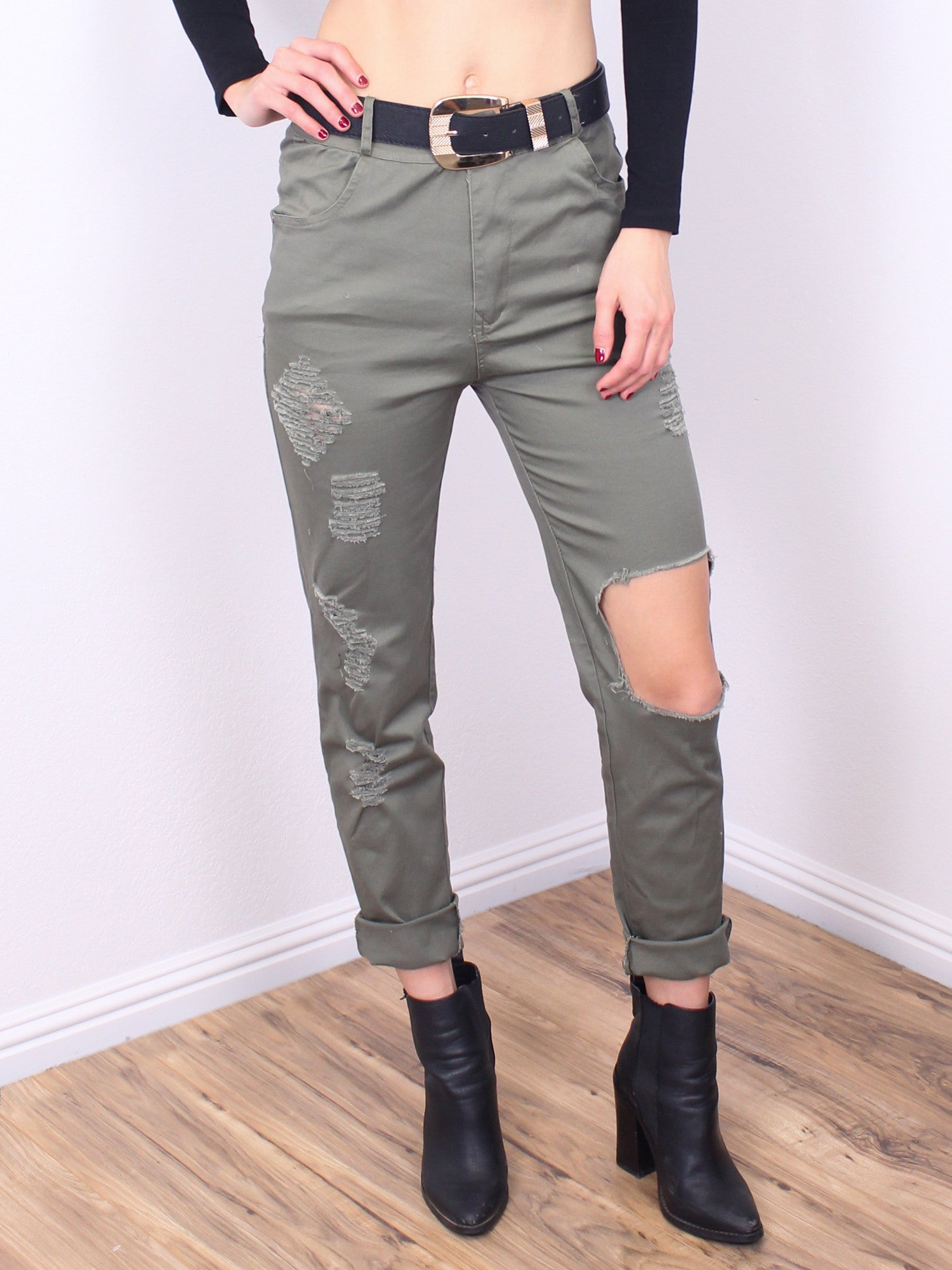 Distressed Olive Jeans - Gold Soul - 2