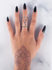 Silver Hamsa Hand Ring Chain - Gold Soul
