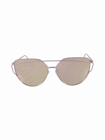Mirrored Lens Giant Velvet Sunnies - Gold Soul - 1