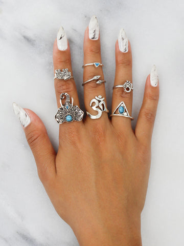 Tri Teal Elephant Ring Set - Gold Soul