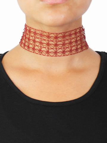 Red Bold Net Choker - Gold Soul