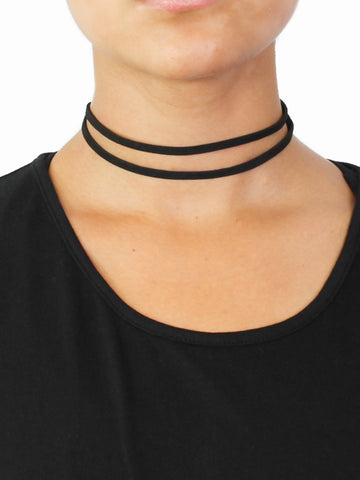 Double Leather Choker - Gold Soul