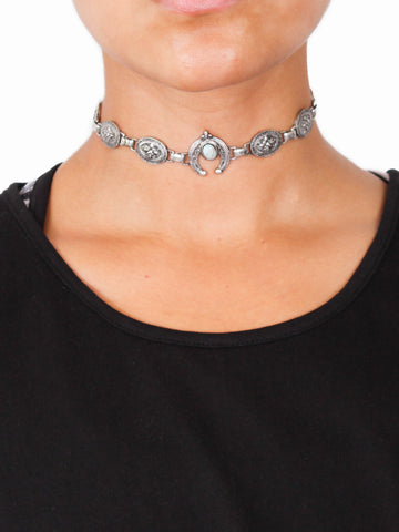 Silver Sweet Teal Love Choker - Gold Soul