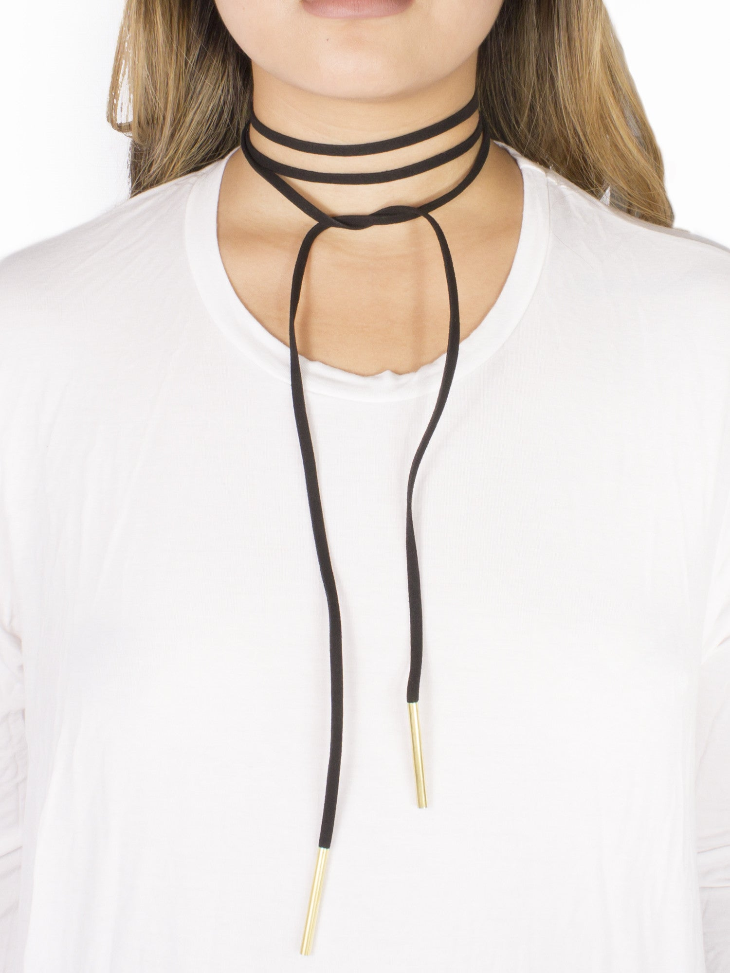 Black Clarity Leatherette Wrap Around Choker - Gold Soul