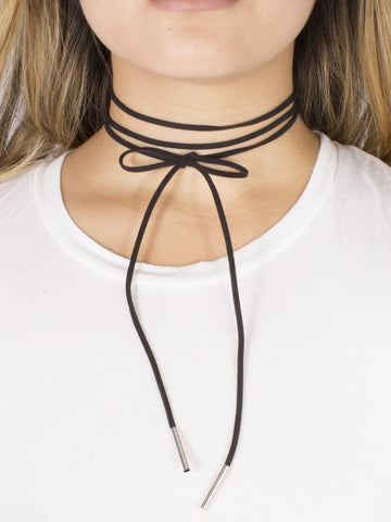 Lina Leatherette Tie Up Choker - Gold Soul