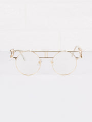 Round Circle Clear Lens Vanilla Glasses - Gold Soul - 2