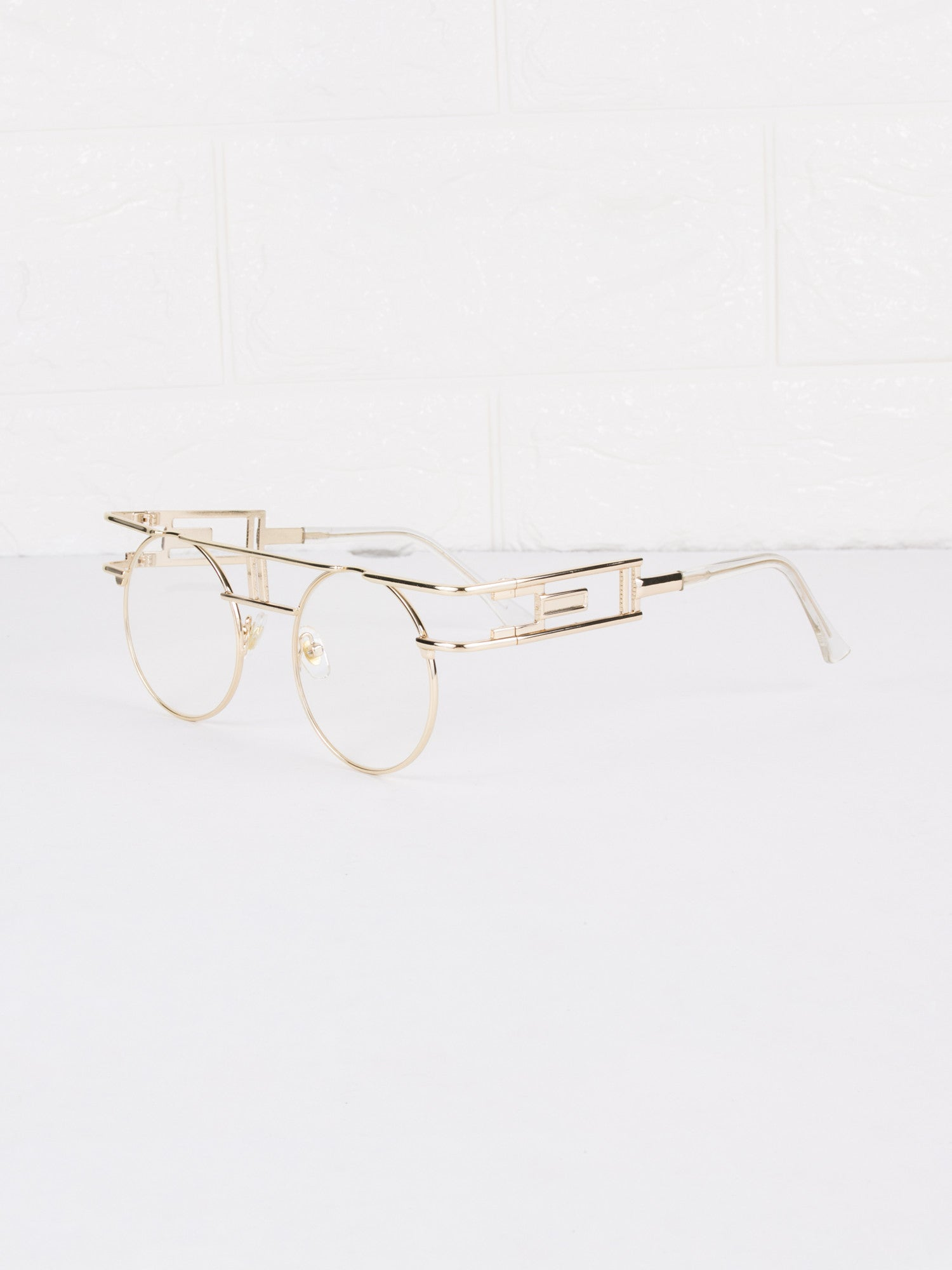 Round Circle Clear Lens Vanilla Glasses - Gold Soul - 1