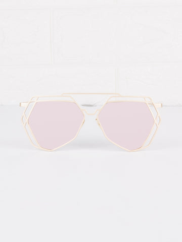 Mirrored Lens Velvetine Sunnies - Gold Soul - 1