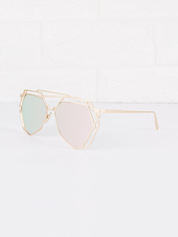 Mirrored Lens Velvetine Sunnies - Gold Soul - 2