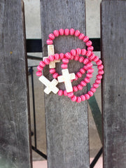 Pink Against Cancer Cross Bracelet - Gold Soul - 1