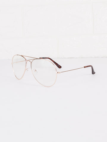 Aviator Clear Lens Spec Glasses - Gold Soul - 2