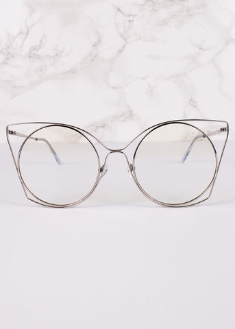 Cat Eye Clear Lens Trinity Glasses