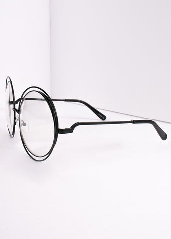 Oversized Circle Clear Lens Giant Radical Glasses