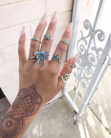 Tri Teal Elephant Ring Set