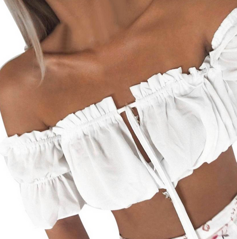 Boho Ruched Off the Shoulder Crop Top