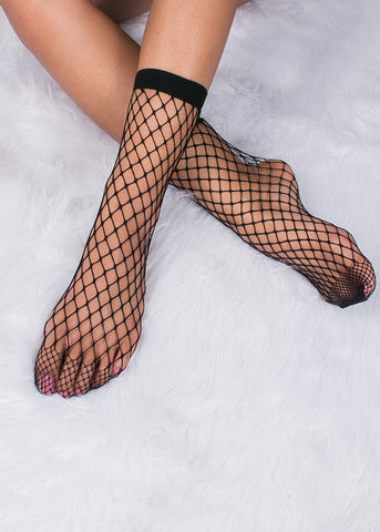 Wide Black Fishnet Socks