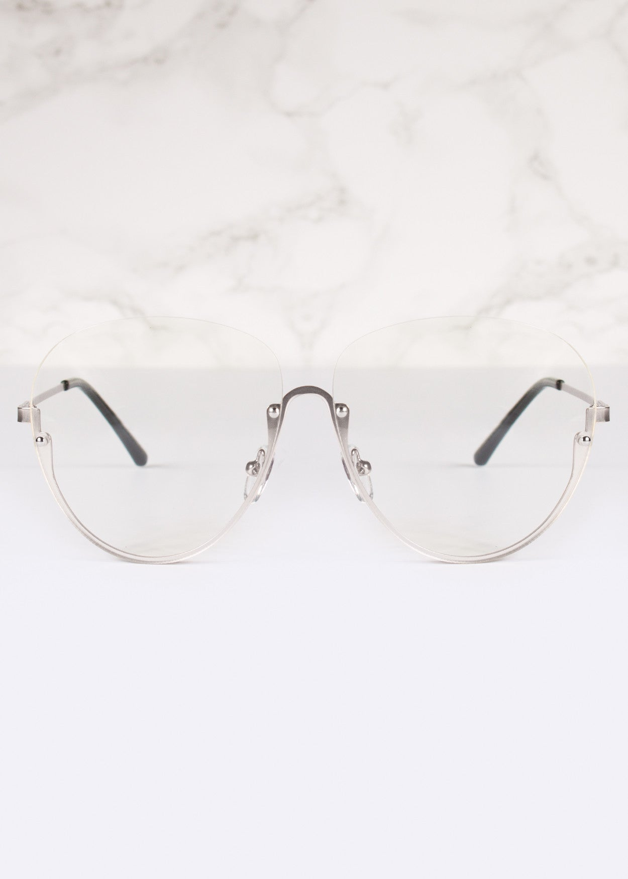 Manifesto Oversized Clear Lens Aviator Glasses