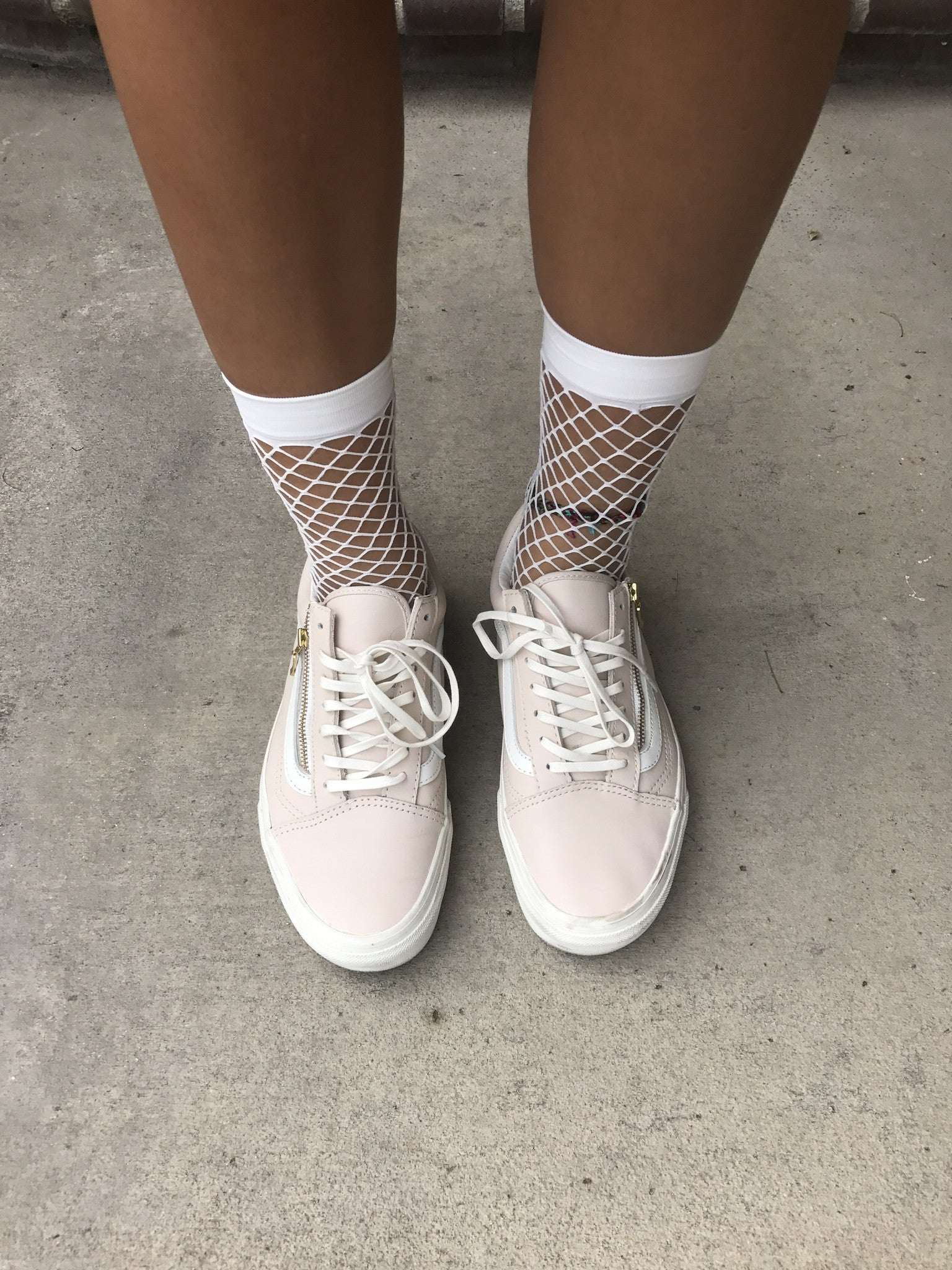 White Fishnet Socks