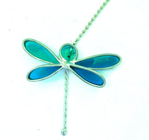 Stained Glass Dragonfly Fan Pull
