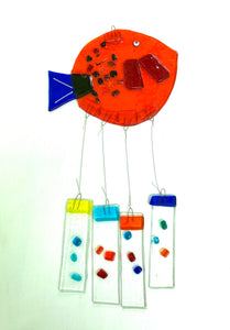 Fused Glass Orange Round Fish Windchime