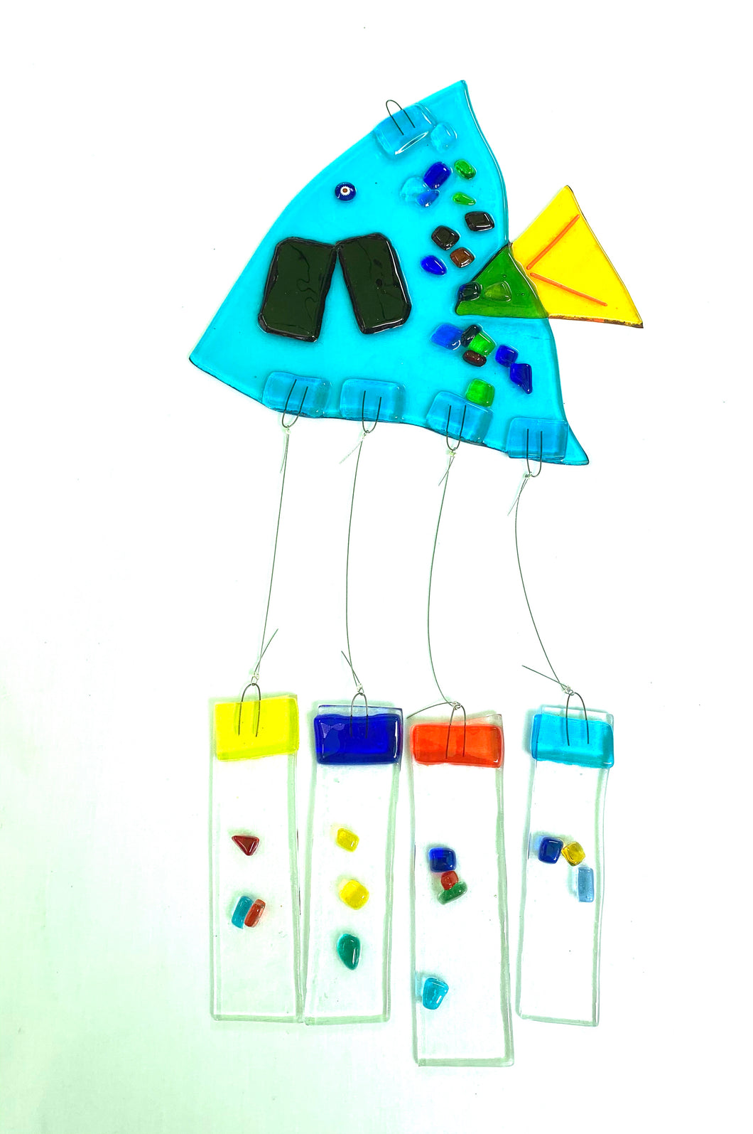 Fused Glass Angel Turquoise Fish Windchime