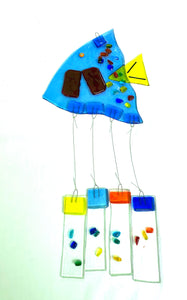 Fused Glass Light Blue Angel Fish Windchime