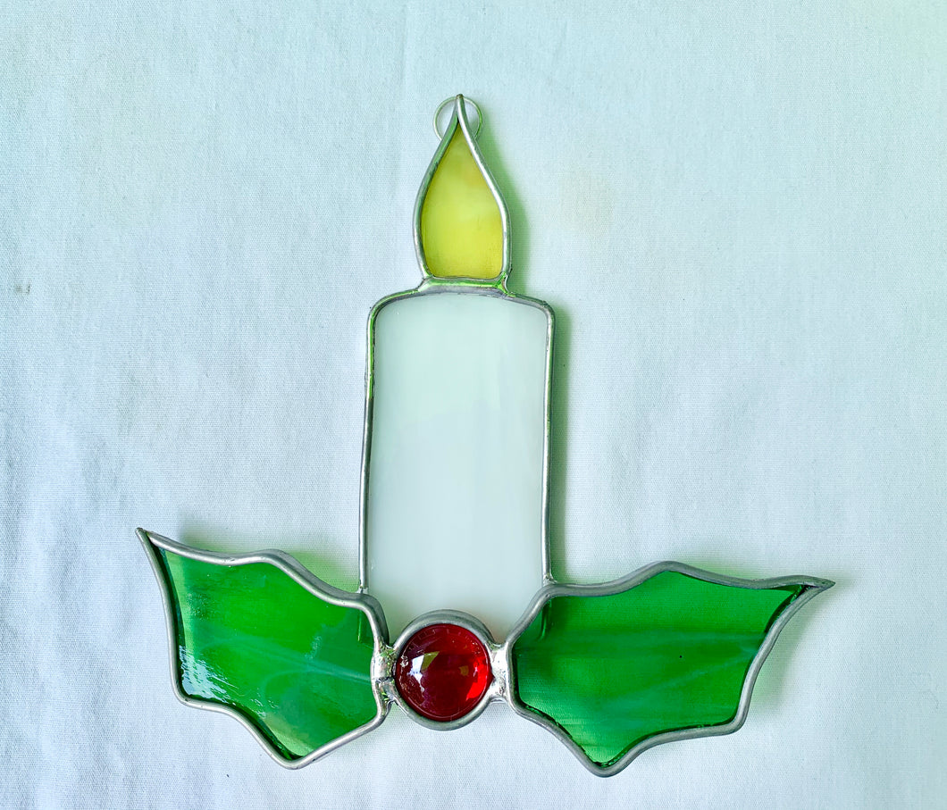Stained Glass Christmas Candle Sundcatcher