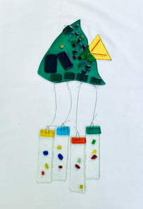 Fused Glass Angel Teal Fish Windchime