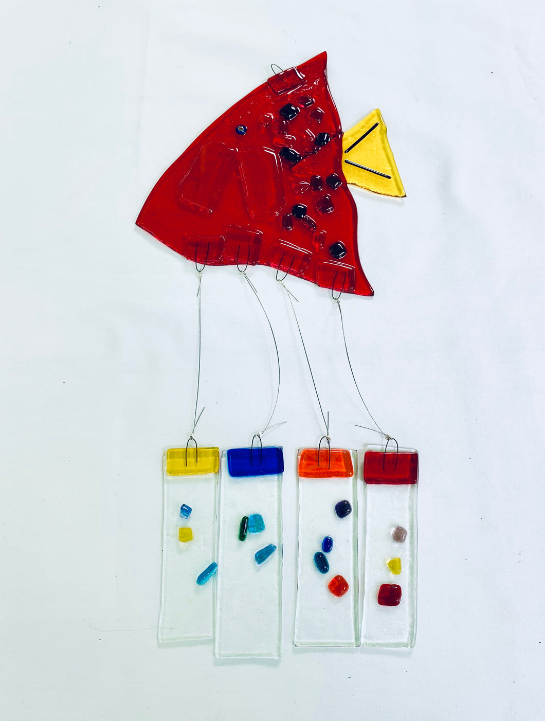 Fused Glass Red Angel Fish Windchime
