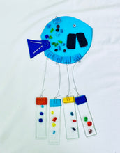 Load image into Gallery viewer, Fused Glass Turquoise Round Fish Windchime