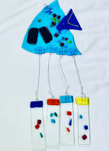 Load image into Gallery viewer, Fused Glass Angel Turquoise Fish Windchime