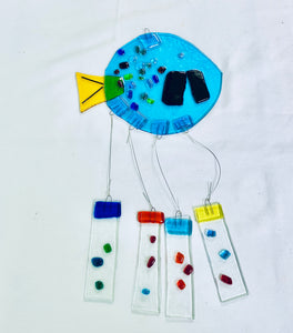 Fused Glass Turquoise Round Fish Windchime