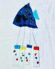 Load image into Gallery viewer, Fused Glass Aqua Angel Fish Windchime