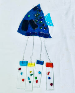 Fused Glass Aqua Angel Fish Windchime