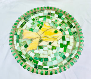 Stained Glass Mosaic Fish With Green Birdbath Top