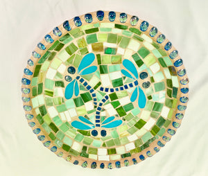 Stained Glass Mosaic 3 Dragonfly Birdbath Top