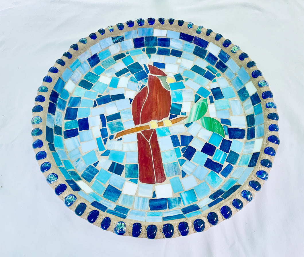 Stained Glass Mosaic Cardinal Birdbath Top