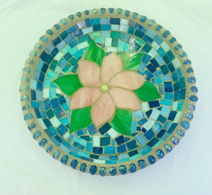 Stained Glass Mosaic Pink Flower Birdbath Top